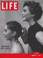 Life Magazine, January 7, 1952 - Horsetail vs. poodle, hair styles
