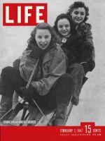 Life Magazine, February 3, 1947 - Three women on sled