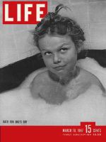 Life Magazine, March 10, 1947 - girl in bathtub with bubbles