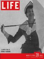Life Magazine, March 13, 1950 - Spring fashion, umbrella