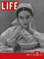 Life Magazine, March 29, 1948 - Woman with Basket handbag
