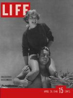 Life Magazine, April 26, 1948 - Rugby week, woman on mans shoulders