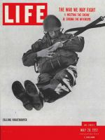 Life Magazine, May 28, 1951 - Soldier parachuting