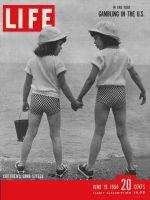 Life Magazine, June 19, 1950 - Girls holding hands on beach