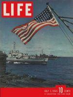 Life Magazine, July 2, 1945 - Navy ship and American flag