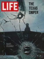 Life Magazine, August 12, 1966 - Texas store window shattered by sniper