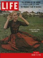Life Magazine, August 13, 1956 - Woman in red dress, Fashion