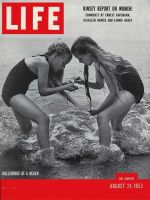 Life Magazine, August 24, 1953 - Two girls on beach