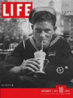 Life Magazine, November 5, 1945 - Sailor drinking soda