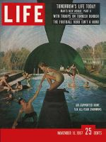 Life Magazine, November 11, 1957 - Air house over swimming pool