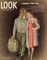 Look Magazine, January 9, 1945 - Illustration by Douglass Crockwell of a returning soldier reuniting with his wife