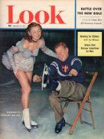 Look Magazine, February 10, 1953 - Arthur Godfrey putting on ice skates, with lovely skater Joan Walden