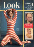 Look Magazine, February 26, 1952 - Cute young woman in curious red and white striped exercise leotard