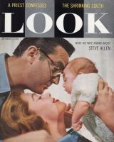 Look Magazine, March 4, 1958 - Steve Allen with his wife and baby