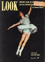 """Look Magazine, March 11, 1941 - ice skater Dorothy Lewis who skates with the Heasley twins in the """"Ice Frolics"""""""