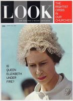 Look Magazine, April 24, 1962 - Queen Elizabeth in a curious hat made out of netting