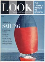 Look Magazine, May 23, 1961 - Red sailboat with red and blue spinnaker sail
