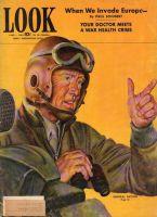 Look Magazine, June 1, 1943 - Painting of General Patton holding binoculars