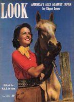Look Magazine, June 3, 1941 - Jeanne Rankin and a palomino horse at Laguna Beach