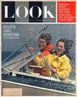 Look Magazine, July 16, 1963 - Two women in a speeding boat with spray flying