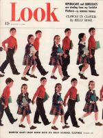 Look Magazine, August 17, 1948 - Brother and sister walking to school hand in hand in new school clothes