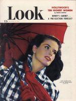 Look Magazine, August 31, 1948 - Woman in plaid raincoat