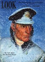Look Magazine, December 14, 1943 - Painting of Merchant Marine captain in snow storm