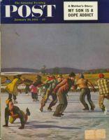 Saturday Evening Post, January 26, 1952 - Ice Skating on Pond