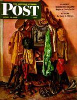 Saturday Evening Post, April 14, 1945 - Loaded Coat Rack