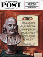 Saturday Evening Post, January 16, 1954 - Benjamin Franklin - bust and quote