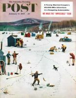 Saturday Evening Post, January 12, 1957 - Ice Fishing Camp