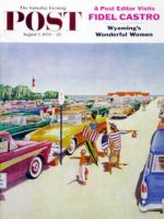 Saturday Evening Post, August 1, 1959 - Beach Parking Lot