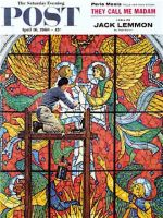 Saturday Evening Post, April 16, 1960 - Repairing Stained Glass (Rockwell)