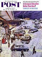 Saturday Evening Post, December 24, 1960 -  Commuter Station Snowed In
