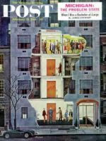 Saturday Evening Post, February 25, 1961 - Party Holding Up the Elevator