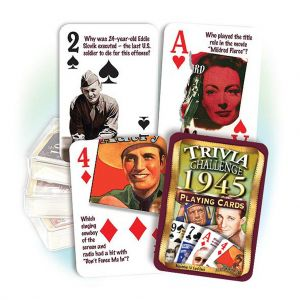 1945 Trivia Challenge Playing Cards: 76th Birthday or Anniversary Gift