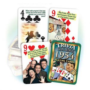 1954 Trivia Challenge Playing Cards: 64th Birthday or Anniversary Gift