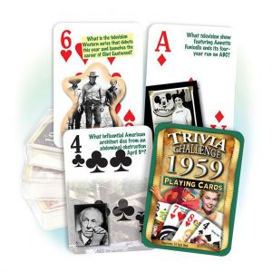 1959 Trivia Challenge Playing Cards: 62th Birthday or Anniversary Gift