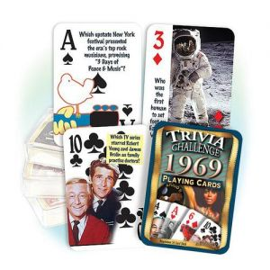1969 Trivia Challenge Playing Cards: 52th Birthday or Anniversary Gift