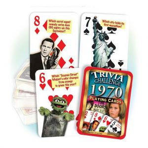 1970 Trivia Challenge Playing Cards: 51th Birthday or Anniversary Gift
