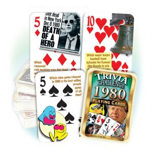 1980 Trivia Challenge Playing Cards: 41th Birthday or Anniversary Gift
