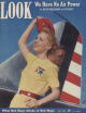 Look Magazine, October 7, 1941 - Pretty woman standing by the tail of a plane