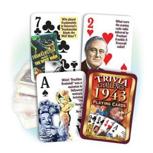 1943 Trivia Challenge Playing Cards: 76th Birthday or Anniversary Gift
