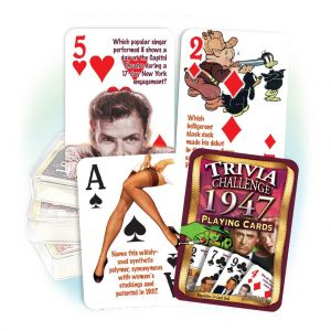 1947 Trivia Challenge Playing Cards: 72nd Birthday or Anniversary Gift