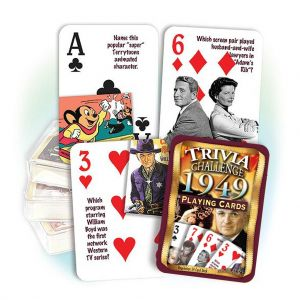1949 Trivia Challenge Playing Cards: 70th Birthday or Anniversary Gift