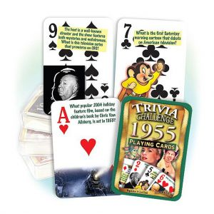 1955 Trivia Challenge Playing Cards: 64th Birthday or Anniversary Gift