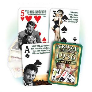 1956 Trivia Challenge Playing Cards: 63rd Birthday or Anniversary Gift