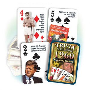 1960 Trivia Challenge Playing Cards: Great 59th Birthday or Anniversary Gift