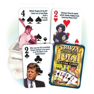 1961 Trivia Challenge Playing Cards: Great 58th Birthday or Anniversary Gift
