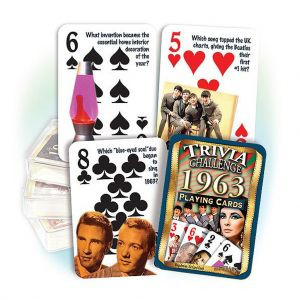 1963 Trivia Challenge Playing Cards: Great 56th Birthday or Anniversary Gift